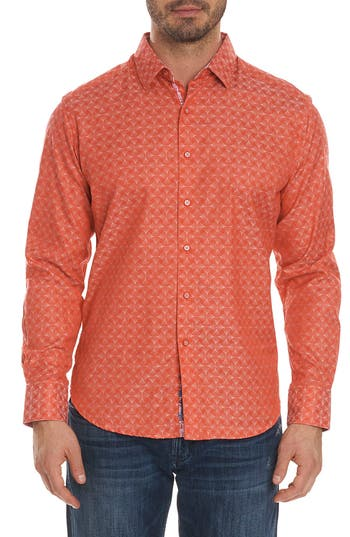 Men's Robert Graham Diamante Classic Fit Print Sport Shirt, Size Small - Coral