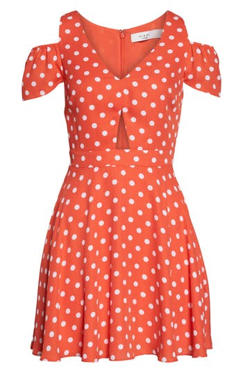 Women's Ali & Jay Chasing Butterflies Cold Shoulder Fit & Flare Dress, Size X-Small - Orange