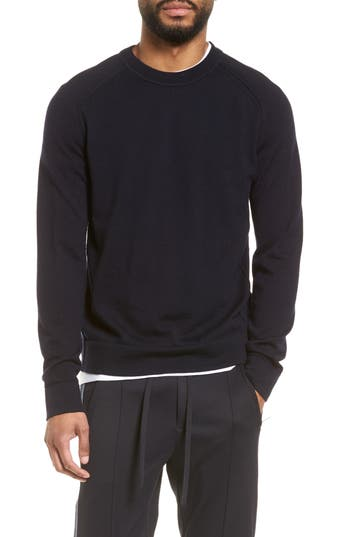 Vince Raw Seam Merino Wool Sweater, Blue