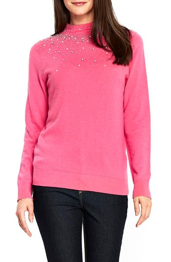 Women's Wallis Beaded Mock Neck Sweater, Size Small - Pink