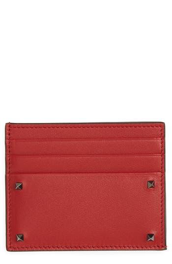 Men's Valentino Garavani Mini Rock Stud Leather Card Case - Red