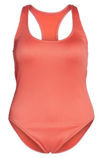 Plus Size The Bikini Lab Rib-Thym One-Piece Swimsuit, Coral