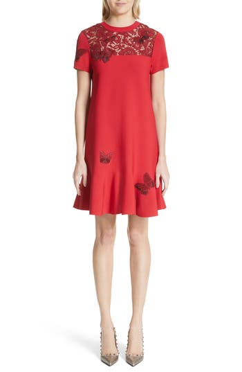 Valentino Butterfly Applique Dress, Red