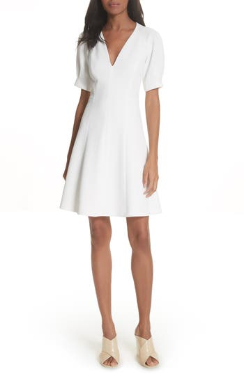 Rebecca Taylor Stretch Knit Fit & Flare Dress, White