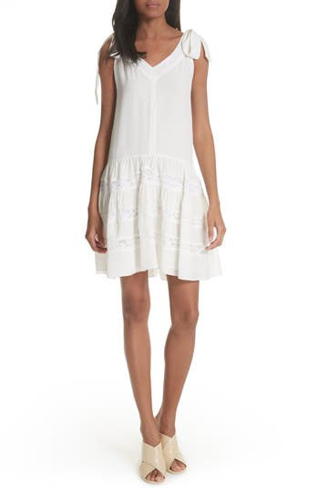 Rebecca Taylor Sleeveless Silk & Lace Dress, White