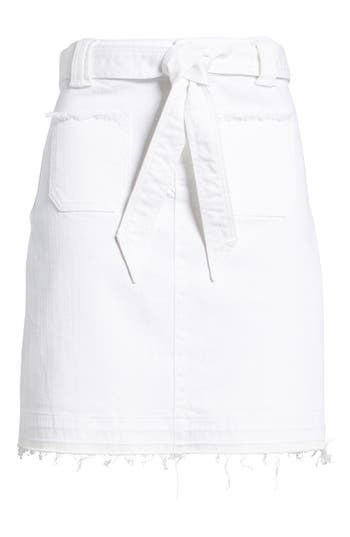 Caslon Belted Release Hem Stretch Cotton Twill Skirt, White
