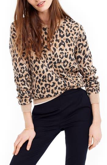 J.crew Cheetah Print Merino Wool Sweatshirt, Brown