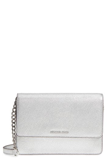 Michael Michael Kors Large Metallic Leather Crossbody Bag - Metallic