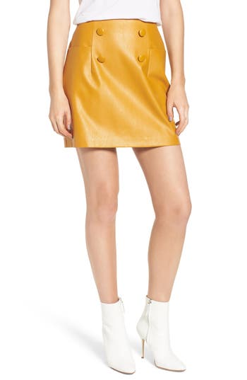 Lost Ink Faux Leather Miniskirt, Yellow