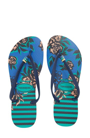 Women's Havaianas 'Slim Thematic' Flip Flop, Size 35/36 BR - Blue/green