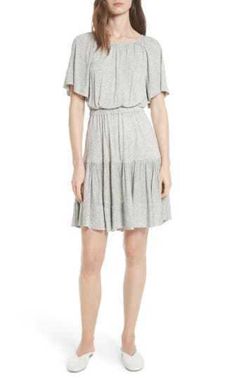 Rebecca Taylor Ruffle Back Cutout Dress, Grey