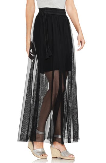 Vince Camuto Side Tie Mesh Overlay Maxi Skirt, Black