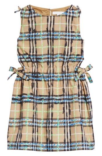 Girls Burberry Candra Scribble Check Dress