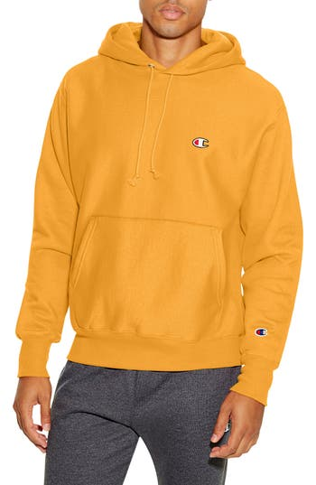 Men's Champion Reverse Weave Pullover Hoodie, Size Small - Yellow
