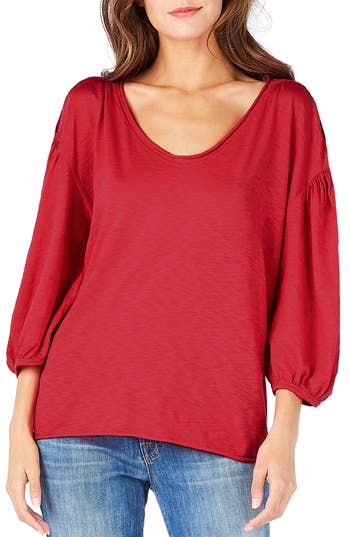 Michael Stars Puff Sleeve Tee, Size One Size - Orange