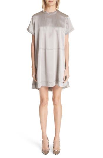 Valentino Hammered Satin Swing Dress, Grey