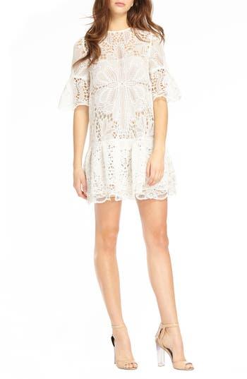 ML Monique Lhuillier Lace & Ruffle Shift Dress