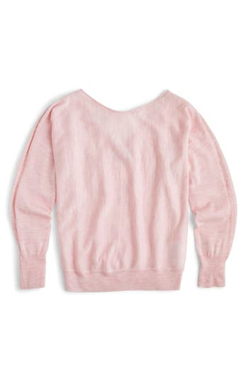 J.crew Dolman Merino Wool V-Back Sweater, Pink