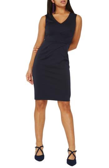 women's dorothy perkins scuba pencil dress, size 10 us / 14 uk - blue