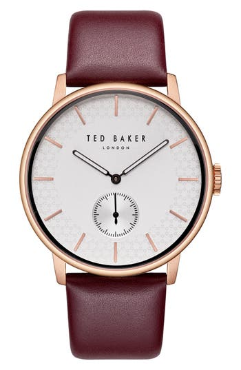 Ted Baker London James Leather Strap Watch, 42mm