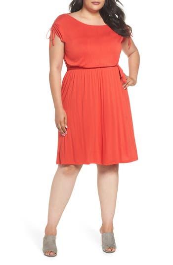 plus size women's dorothy perkins jersey a-line dress, size 14w us / 18 uk - coral