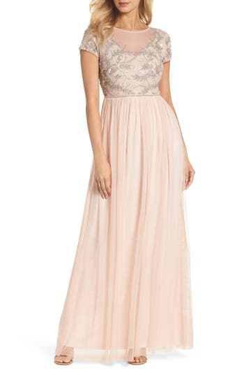 Adrianna Papell Beaded Mesh Gown, Pink