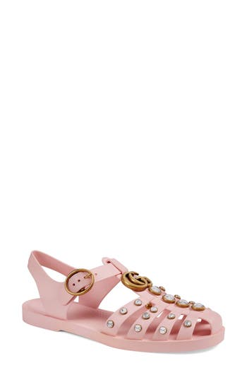 Rubber sandal with crystals - Pink & Purple Gucci