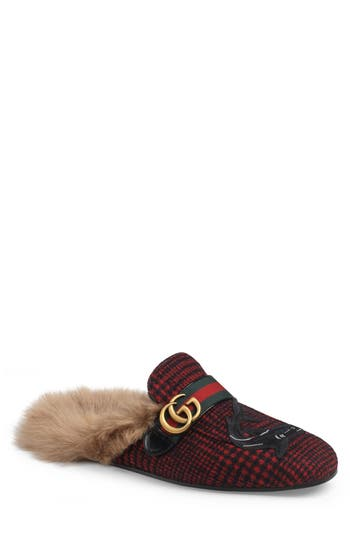 Gucci Princetown Double G Loafer Mule with Genuine Shearling