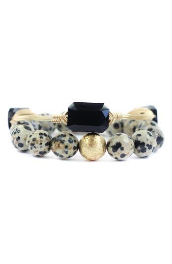 Bourbon and Boweties Dalmatian Jasper & Black Crystal Bangle & Stretch Bracelet Set