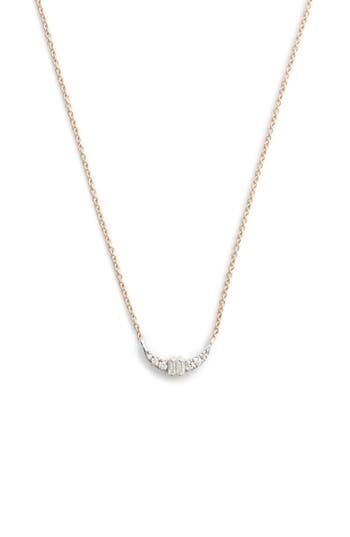 Dana Rebecca Baguette Crescent Necklace