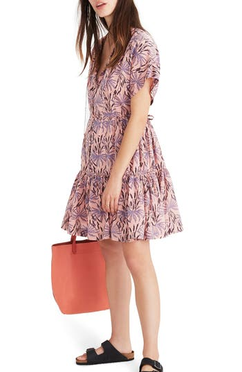 OASIS PALMS BUTTON FRONT TIERED DRESS