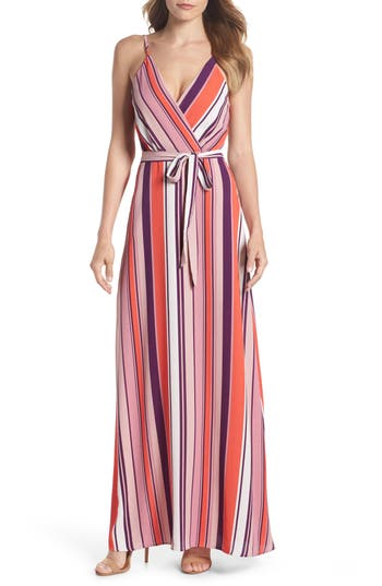 Charles Henry Belted Cami Maxi Dress, Coral