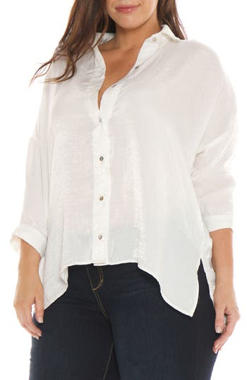 Plus Size Women's Slink Jeans Hammered Satin Shirt, Size 2X - White