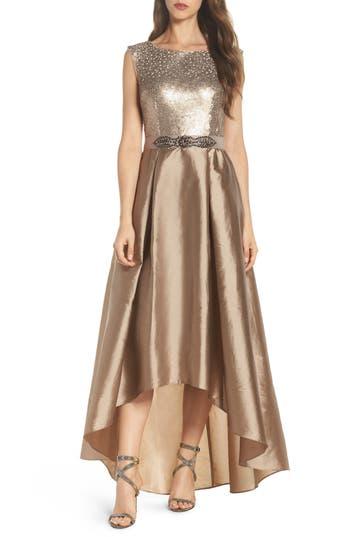 Petite Women's Adrianna Papell Ombre Sequin Ballgown, Size 14P - Metallic