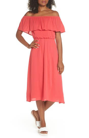 Charles Henry Off The Shoulder Ruffle Midi Dress, Coral