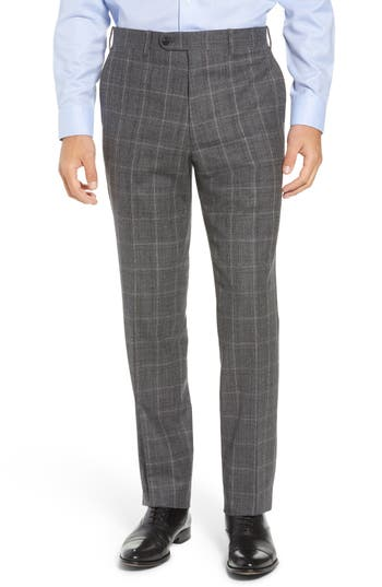 John W. Nordstrom® Torino Traditional Fit Flat Front Plaid Wool & Cashmere Trousers