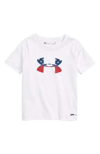 Boys Under Armour Stars  Stripes Logo Graphic TShirt Size 4  White
