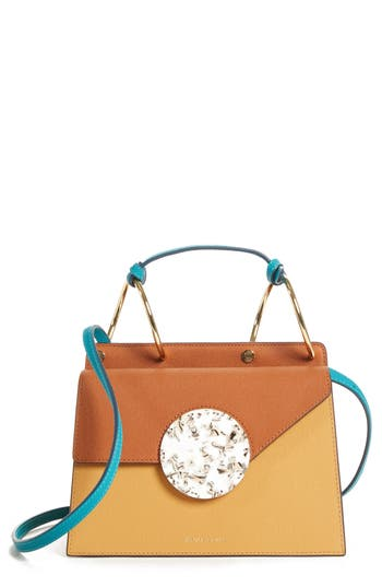 PHOEBE BIS ACETATE CLOSURE CROSSBODY BAG - BROWN