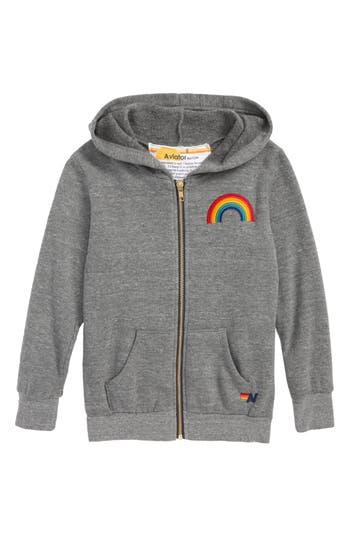 Girls Aviator Nation Rainbow Embroidery Zip Hoodie