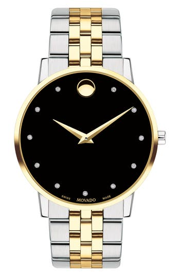 Movado Museum Diamond Bracelet Watch, 40mm