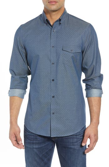 Nordstrom Men's Shop Regular Fit Dobby No-Iron Sport Shirt