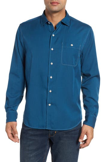 Men's Tommy Bahama Twilly Check Sport Shirt, Size Small - Blue