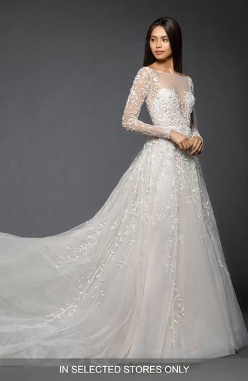 Lazaro Isabel Long Sleeve Beaded Tulle & Chiffon Gown