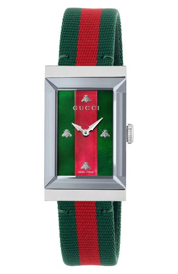 Gucci G-Frame Nylon Strap Watch, 21mm x 34mm