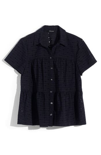 MADEWELL EYELET SEAMED BUTTON DOWN SHIRT