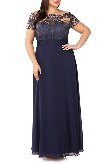 JS Collections Floral Embroidered Chiffon Gown
