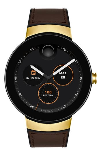 Movado Connect Silicone & Leather Strap Smart Watch, 44mm