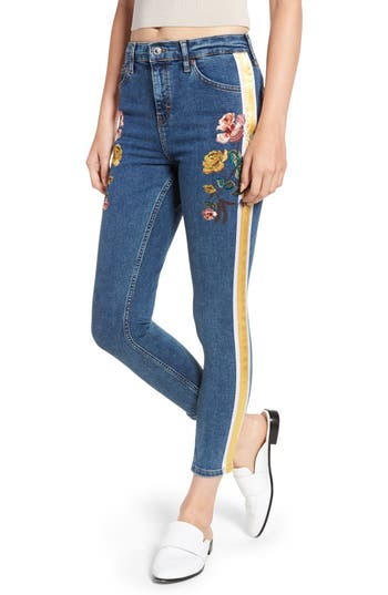Topshop Stripe Floral Denim Pants