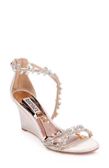 Badgley Mischka Feather Crystal Embellished Wedge Sandal
