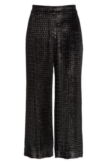 Brandon Maxwell Metallic Velvet Crop Wide Leg Pants